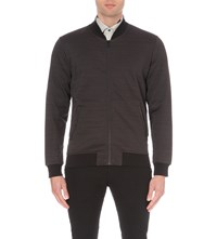 Reiss Eccles Cotton Blend Jersey Bomber Jacket Grey