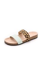 Loeffler Randall Paz Two Band Slides Mint Cheetah