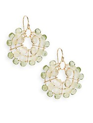 Eva Hanusova Multigem Green Apatite Opal And Yellow Quartz Web Drop Earrings Goldtone
