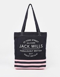 Jack Wills Tote In Canvas Pinknavy