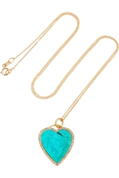 Jennifer Meyer 18 Karat Gold Diamond And Turquoise Heart Necklace