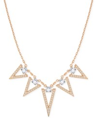 Swarovski Rose Gold Tone Square Crystal And Triangle Collar Necklace