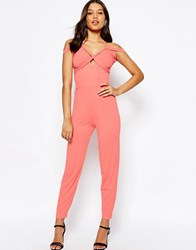 Asos Jersey Jumpsuit With Drape Halter And Peg Leg Coral Pink