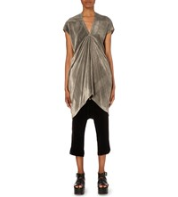 Rick Owens Asymmetric Velvet Dress Dark Dust
