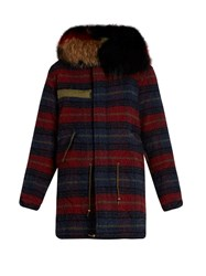 Mr And Mrs Italy Fur Trimmed Striped Wool Parka Red Multi