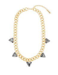 Steve Madden Curb Chain And Gray Faceted Triangle Station Necklace Gold