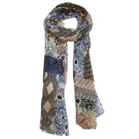 Dents Patchwork Geometric Floral Print Scarf Natural