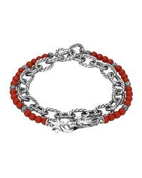 Double Wrap Silver Link Bracelet With Coral John Hardy Red