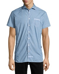 English Laundry Trim Fit Neat Pattern Short Sleeve Sport Shirt Teal