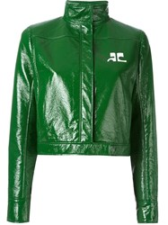 Courreges High Collar Cropped Jacket Green