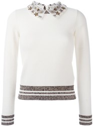 Valentino Embroidered Collar Jumper Nude And Neutrals