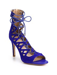 Joie Quinn Suede Lace Up Sandals Deep Indigo