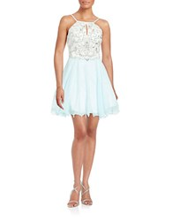 Xscape Evenings Embellished Chiffon Dress Blue Pastel