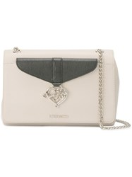 Love Moschino Logo Plaque Shoulder Bag White