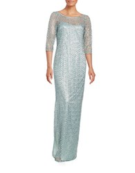 Kay Unger Beaded Crochet Column Dress Misty Blue