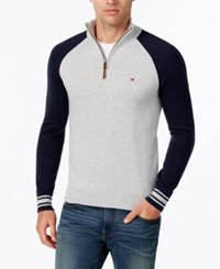 Tommy Hilfiger Men's Colorblocked Quarter Zip Sweater Chili Pepp