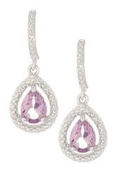 Savvy Cie Sterling Silver Amethyst And Diamond Teardrop Earrings Purple
