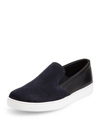 Prada Bicolor Suede And Leather Sneaker Blue Black