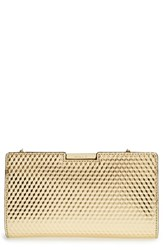 Milly Geometric Embossed Leather Small Frame Clutch Metallic Gold