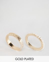 Ny Lon Nylon Gold Plated Pearl Ring Set Gold Plated