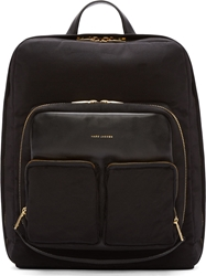 Marc Jacobs Black Structured Textile And Leather Backpack