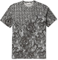 Balenciaga Printed Cotton Jersey T Shirt Gray