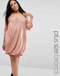 Missguided Plus Satin Wrap Over Dress Toffee Beige