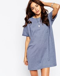 Asos Casual Oversize T Shirt Dress With Pocket Blue