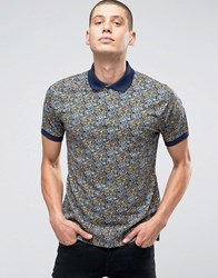 Pretty Green Polo Shirt With Paisley Print In Slim Fit Navy Navy