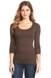 Petite Women's Caslon 'Melody' Long Sleeve Scoop Neck Tee Brown Bean