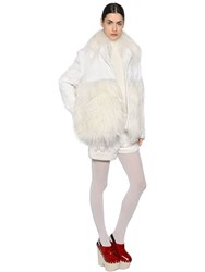 Moncler Gamme Rouge Lace And Wool Coat With Cashmere Fur