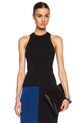 T By Alexander Wang Fitted Rayon Blend Tank In Black
