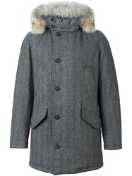 Woolrich Coyote Fur Trim Coat Grey