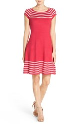 Women's Eliza J Stripe Knit Flared Dress Hot Pink