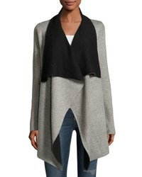 Neiman Marcus Reversible Long Sleeve Open Front Cardigan Gray Black