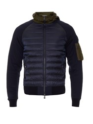 Moncler Nylon And Jersey Hooded Jacket Navy