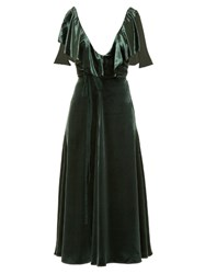 Valentino Deep V Neck Velvet Midi Dress Green