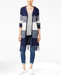 Almost Famous Juniors' Open Front Cardigan With Fringe Trim Navy Combo