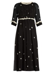 Jupe By Jackie Bolivar Embroidered Silk Dress Black White