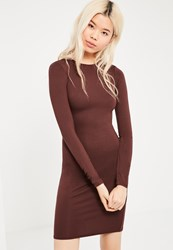 Missguided Tall Brown Long Sleeve Jersey Bodycon Dress