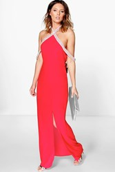 Boohoo Jade Embellished Halterneck Maxi Dress Red
