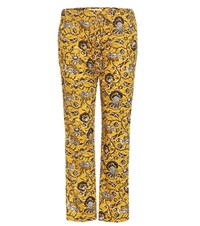 Etoile Isabel Marant Alka Printed Cotton Cropped Trousers Yellow