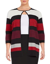 Nipon Boutique Plus Striped Cardigan Raisin