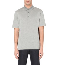 Canali Lustrous Cotton Polo Shirt Grey