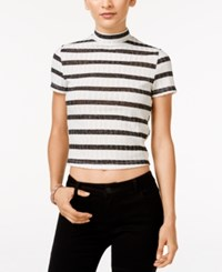 In Awe Of You By Awesomenesstv Awesomeness Tv Juniors' Striped Mock Neck Crop Top Multi
