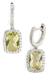 Women's Lafonn 'Aria' Rectangular Drop Earrings Silver Lemon Quartz