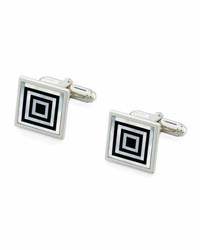 David Donahue Onyx And Mother Of Pearl Concentric Square Cuff Links Silver