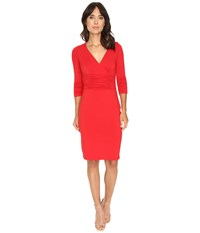 Nue By Shani Crossover V Neck Jersey Knit Dress Red Women's Dress