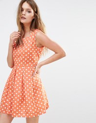 Iska Polka Dot Skater Dress Salmon Pink