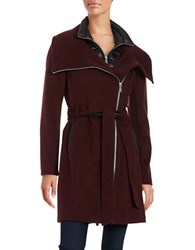 Bcbgeneration Belted Wool Blend Coat Burgundy